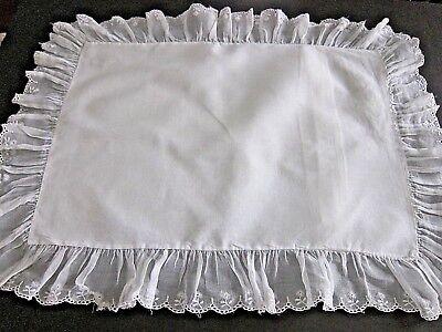 Vintage White Cotton Custom Made by RN Boudoir Pillow Sham w/Eyelet ruffle lace