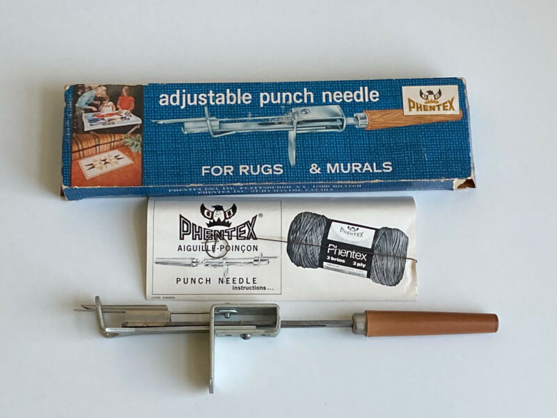 Vintage Phentex Adjustable Punch Needle Crafting Tool Rugs & Murals Original Box