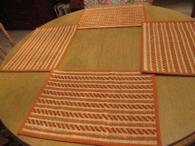 Reversible Burnt Orange/White Canvas Binding Woven Bamboo Placemats ~ Set of 6