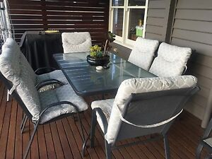 OUTDOOR dining setting with six padded chairs Belmont Geelong City Preview