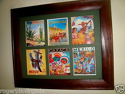 MEXICO - VINTAGE MINIATURE TOURIST POSTERS  IN FRAMES