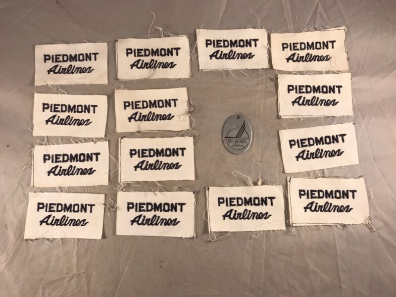 LOT of 14 PIEDMONT AIRLINES SHIRT  PATCHES & PIEDMONT AIRLINES KEY FOB NAMED