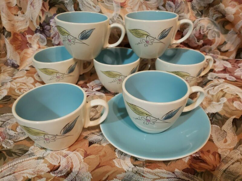 Lot of 7 SALEM BISCAYNE Turquoise Leaf Ovenproof Vintage 1950