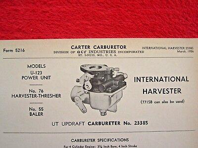 1950s Ih International Power Unit Baler Carter Ut Carburetor Spec Info Sheet