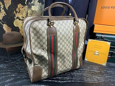 GUCCI XL Italy Brown Supreme Vintage Large Travel Duffle Carryall Overnight Bag
