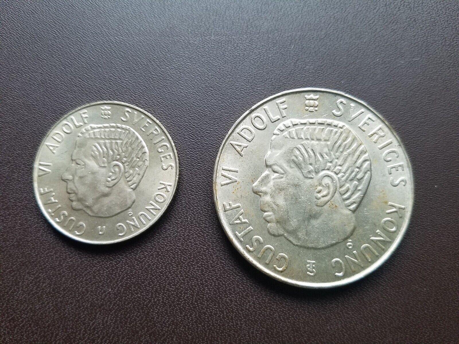 Sweden, Design Pair 1964 Krona 1954 5 Kronor. Gustav VI Adolf.  - $4.95