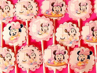 30 BABY MINNIE MOUSE Cupcake Toppers Birthday Party Favors, Baby Shower Decor 30 (Cupcake Favors)