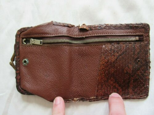 Vtg 30s 40s Snakeskin & Leather Wallet / Coin Purse Talon Zipper Mens Antique