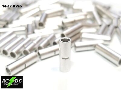 14-12 Gauge 25 Pk Uninsulated Non Insulated Tinned Butt Connector Terminal Wire