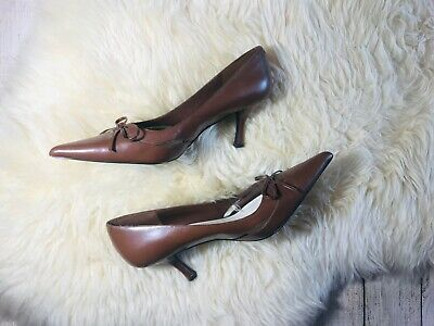 Nine West Vintage Brown Cognac Leather Pointed Toe Pumps with Bow, 7.5 Cognac Leather Pump