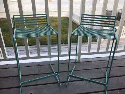 Duck Egg Blue Metal Stools x2