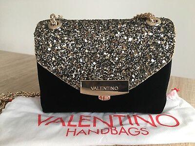 NEW Valentino Velvet Shoulder Crossbody Handbag Black Gold Mario Valentino