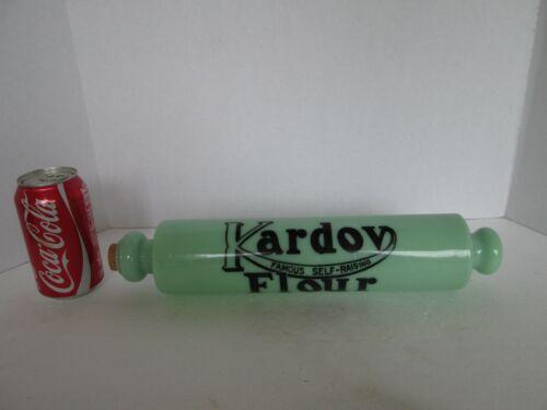1x Kardov Famous Self Rising Flour ROLLING PIN Jadeite Jadite Green Black Repro