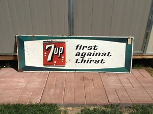 Large 54x18 seven up sign embossed 1967 7up signs