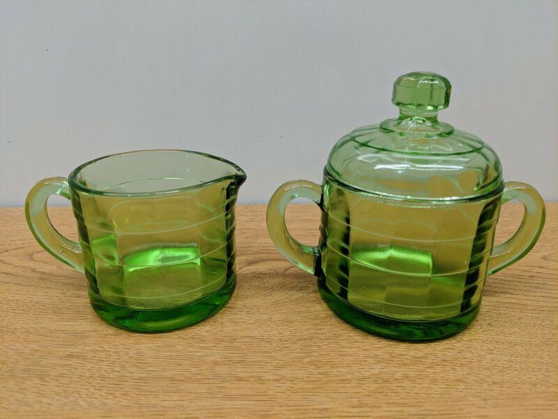 Vintage BLOCK OPTIC Green Depression Uranium Glass VASELINE- CREAM SUGAR