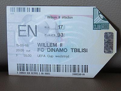 TICKET : WILLEM II - FC DINAMO TBILISE COUPE UEFA 15-09-1998
