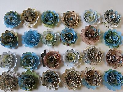 """Set 24, Scalloped World Atlas Paper Flowers, Loose 1.5"""" Roses, Map Book Page"""