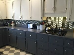 Kitchen cupboards and countertops .