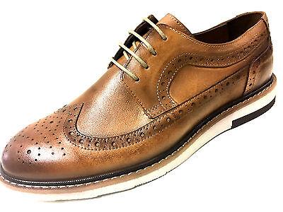 Nuevo Moda Mocasín Claro Braun Cuero Budapest Zapatos Hombre de Cordones