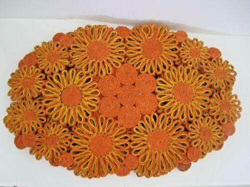 Vintage 100% Abaca Large Woven Orange Yellow Flower Placemats set of 4 Boho