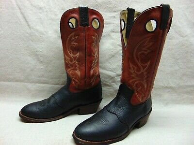 Double H Buckaroo Men's 10.5 D Brown & Black Bullhide Leather Pull Holes Boots