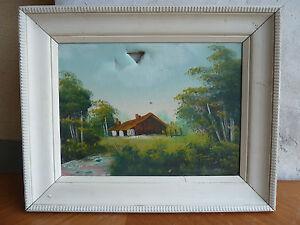 itm Ancienne peinture sur toile cadre en bois peint deco maison nature signe