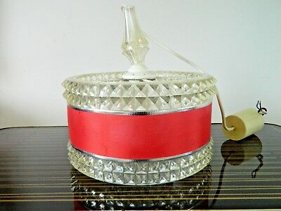 Retro Stunning Mid Century German Shade with Inner Glass Diffuse and Fabric Band