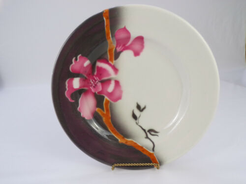 """Vintage Jackson China Airbrushed Dinner Plate 9-3/4"""" Tropical Pink,White,Gray"""