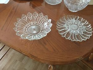 Fancy glass bowl and plates