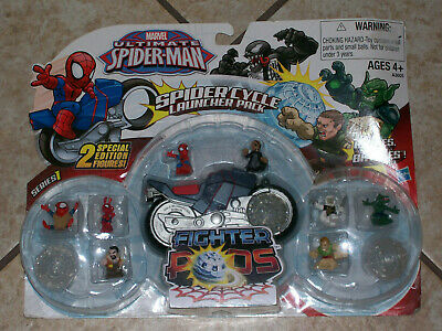 MARVEL ULTIMATE SPIDER-MAN SERIES 1 FIGHTER PODS SPIDER CYCLE LAUNCHER PACK