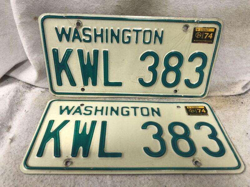 Vintage 1974 Washington License Plate Pair