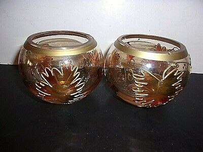 Set Of 2 Yankee Candle Fall Autumn Leaves Votive Holders
