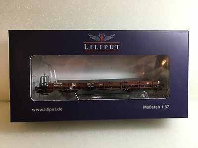 Liliput L235040 Flat Wagon With Wood Stanchions SBB Epoche IV H0 New T48 Post