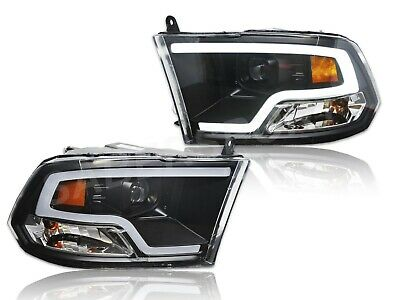 Pair Black Projector Headlights Plank Style LED Bar for 2009-2018 Dodge Ram 1500