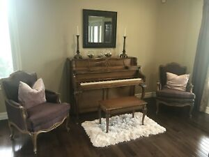 1950s antique piano and matching chairs