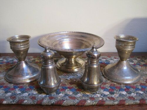 Vintage Lot STERLING SILVER Duchin Creation ROGERS Shakers Bowl Candle Holders