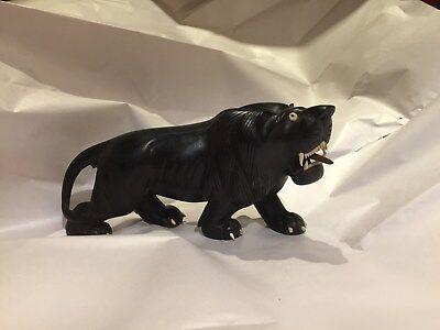 ANTIQUE HAND CARVED LION - DARK WOOD  - BONE EYES, TEETH & CLAWS - ASIA -UNIQUE