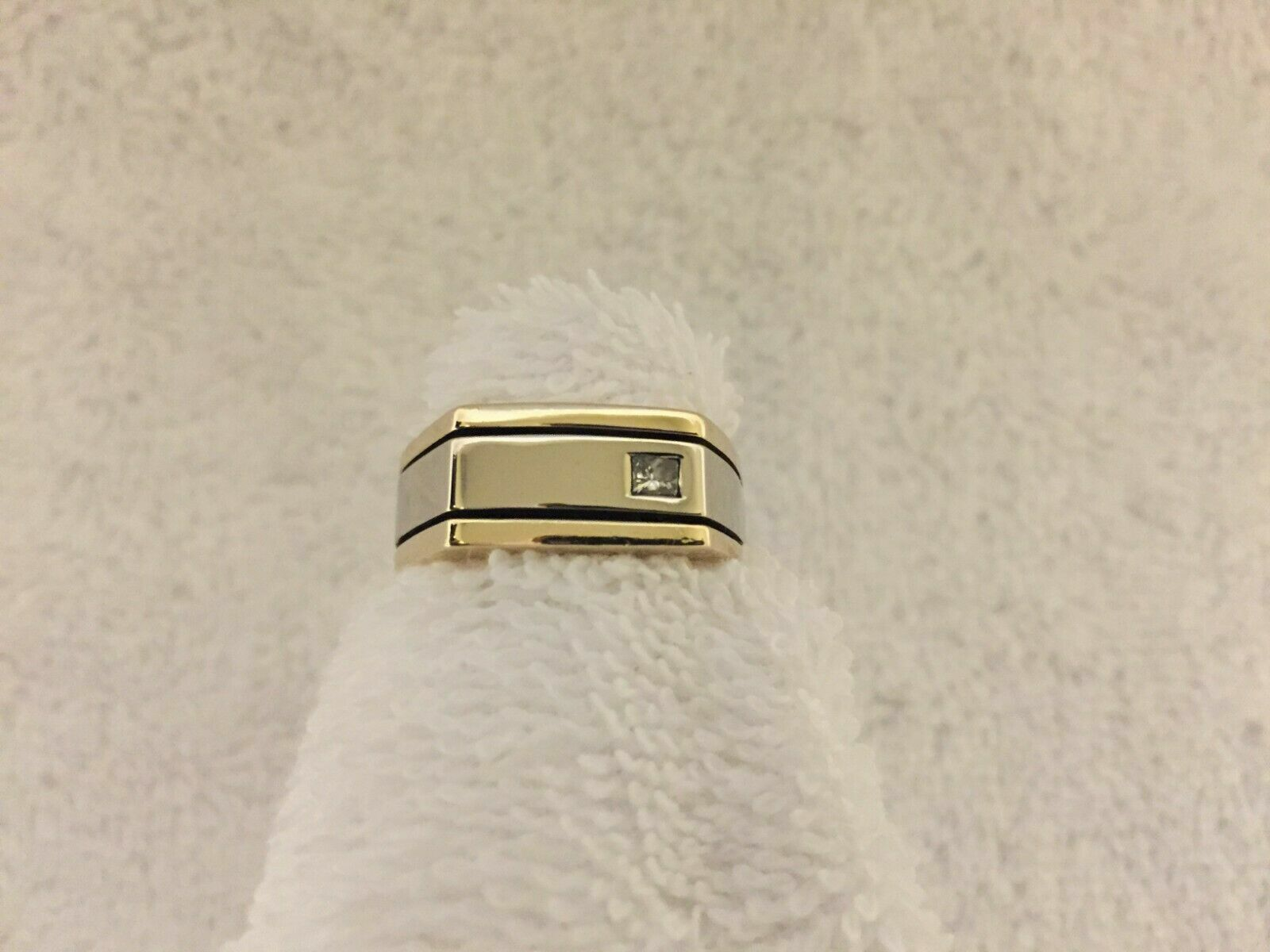 0.15Ct 14k Yellow Gold Over Two Tone Mens Wedding Band Engagement Diamond Ring