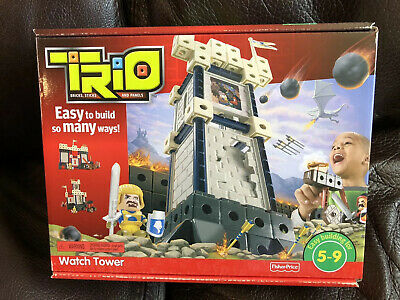Trio Castle Watch Tower Building Fisher Price Easy Build Blocks Knight Cannon