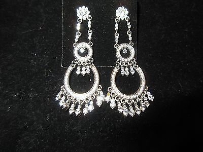 Chandelier Dangle Earrings Genuine Rhinestone Crystal Statement Floral Dangle