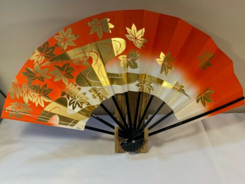 Japanese Odori Dance Sensu Folding Red Gold Fall Leaf Pattern Made in Japan