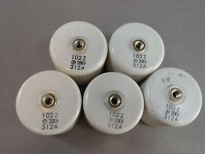 Lot Of 5 Murata 102pf Doorknob 102z 20kv 312a Ultra High Voltage Capacitor