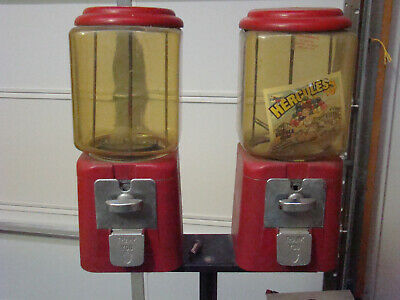Vintage ACORN Double Gumball Machines on Sturdy Stand