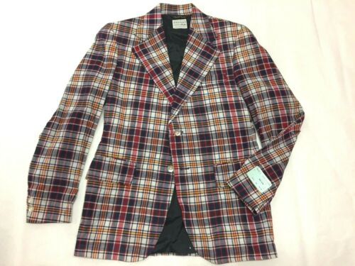 New NOS Vtg 60s 70s Indian Bleeding Madras Cotton Plaid Sport Coat Boys Sz. 18
