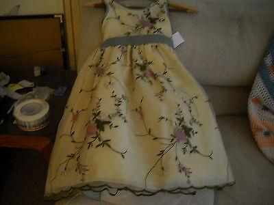 GORGEOUS LITTLE GIRL FLOWER GIRL OR PARTY DRESS APPLIQUE SIZE 4 FULL LENGTH NWT - Gorgeous Flower Girl Dresses