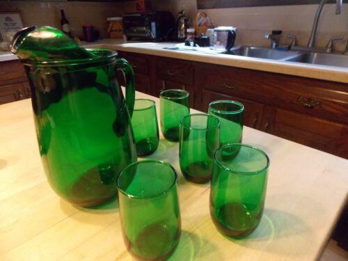 Vint Anchor Hocking Green 1 Qt Pitcher and 4 Oz Juice Glasses Set