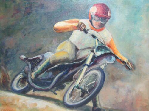 MOTORCYCLE RACER Vintage Artwork Ruth Huking DIRTBIKE MOTO X Sign Painting Art