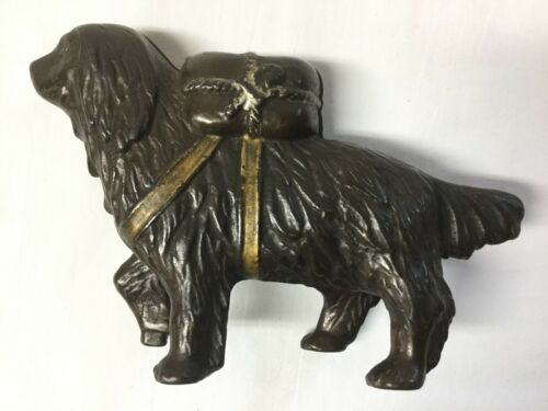 A.C. Williams Small St. Bernard with Pack Cast Iron Still Bank- c 1905 - 1930s