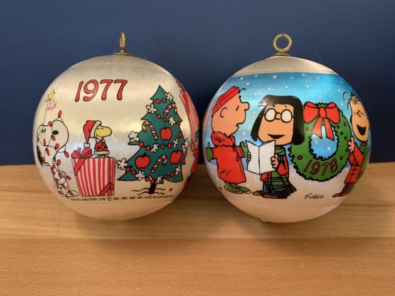 Lot 2 PEANUTS 1977, 1978 Satin Ball Christmas Ornaments Snoopy Charlie Brown VTG