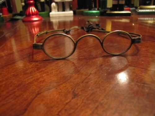ANTIQUE COLONIAL BRASS METAL SPECTACLES EYEGLASSES EARLY OPTICS H&O